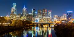 Philadelphia cityscape panorama by night Stock Photos