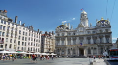 Place des Terraux and the The Hotel de Ville - Lyon France Stock Footage