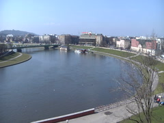 View from Wawel Castle - stock footage