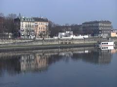 Krakow, Poland -  Wisla River with Buildings Stock Footage