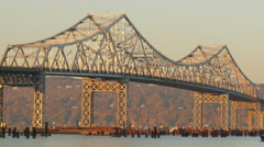 4K New Tappan Zee Bridge Construction Shuttle 1 Stock Footage