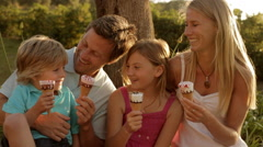 Family group eating ice cream Stock Footage