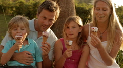 family group eating ice cream - stock footage