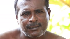 Sri Lankan portrait fisherman Stock Footage