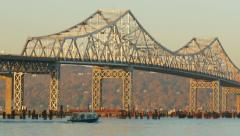 New Tappan Zee Bridge Construction Shuttle 2 Stock Footage