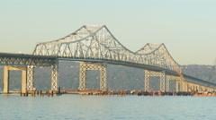 4K New Tappan Zee Bridge Construction 8 Stock Footage