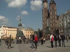 Rynek Glowny with St Mary's Church. - stock footage