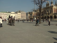 Horse drawn carriage in Krakow square - stock footage