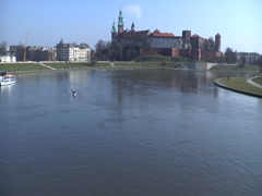 Wawel Casle on the Wisla River - stock footage