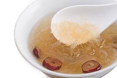 raw bird nest soup with chinese bowl - stock photo