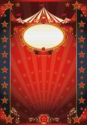 Circus red and night fantastic poster Stock Illustration
