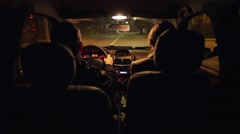 Traveling at nigh in a small car Stock Footage