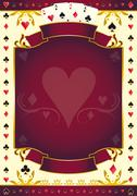 Pokergame heart red background Stock Illustration
