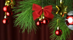 Christmas Tree And Ornaments Stock Footage