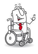 handicapped businessman - stock illustration