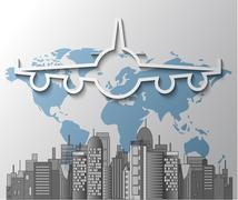 Illustration of airplane with city skyline on world map Stock Illustration