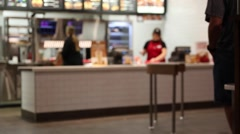 Cashier at a fast food restaurant Stock Footage