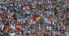 UltraHD 4K German Happy Crowd People Waving Flag Cheers Germany Football Team Stock Footage