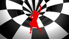 Dancer red   silhouette Checker Tunnel  motion background Stock Footage