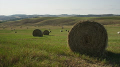 Wide slow motion panning shot of hay bales in rural crop field / Val d'Orcia, Stock Footage