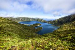 Lagoa do fogo crater lake, sao miguel, azores Stock Photos