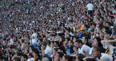 UHD 4K Happy Crowd German People Standing Waving Flags Football Match Euphory Stock Footage