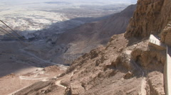 Dead sea and surrounding area from mountain Stock Footage