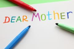 letter to dear mother - stock photo