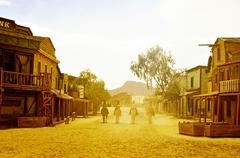 old west town in fort bravo/texas hollywood, in spain - stock photo