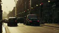 Wide time lapse shot of traffic on busy city street / Paris, France - stock footage