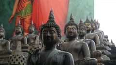 Buddhism statues at the Gangaramaya Temple in Colombo, Sri Lanka Stock Footage