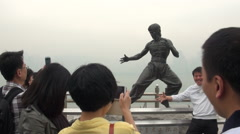 Statue Bruce Lee, Avenue of Stars of Kowloon, Hong Kong 2013-Dan Stock Footage