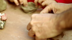 Kids Teamwork Childhood Learning Dad Father Teacher Handcrafted Pottery Stock Footage