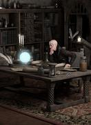 Sorcerer Consulting a Magic Orb - stock illustration