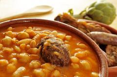 potaje de judias y garbanzos, a traditional spanish legume stew - stock photo