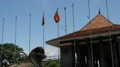 Flags in front of the Independence Memorial Hall, Colombo, Sri Lanka Stock Footage