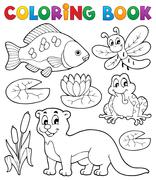 Coloring book river fauna image - illustration. Stock Illustration