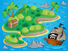 Theme with island and treasure - illustration. Piirros