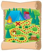 Camping theme map image - illustration. Piirros