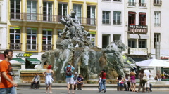 La Fontaine Bartholdi - Lyon France Stock Footage
