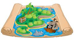 treasure map theme image - illustration. - stock illustration