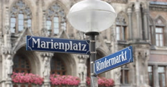 Ultra HD 4K Marienplatz Street Sign Closeup Famous Popular Square Munich City Stock Footage
