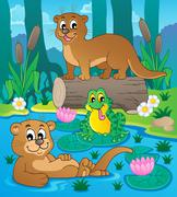 river fauna theme image - illustration. - stock illustration