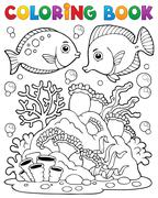 Coloring book coral reef theme - illustration. Stock Illustration