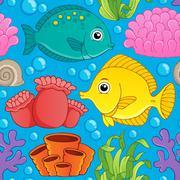 Seamless background sea theme - illustration. Stock Illustration