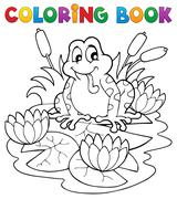 coloring book river fauna image - illustration. - stock illustration