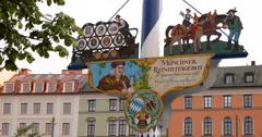 Ultra HD 4K Closeup Bavarian Flag Maypole Iconic Shopping Market Munich Day Stock Footage
