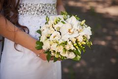 wedding bouquet of white roses - stock photo