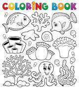 coloring book coral reef theme - illustration. - stock illustration
