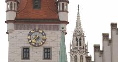 Ultra HD 4K Munich Central Square Marienplatz Town Hall Clock Tower New Rathaus Stock Footage